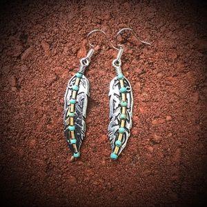 Boho 925 Silver Feather Earrings